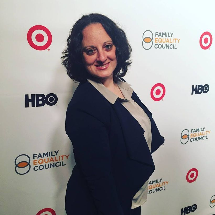 The Seattle Lesbian's Sarah Toce on the red carpet for the 2017 LA Impact Awards benefiting Family Equality Council.