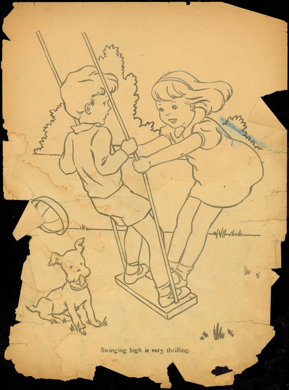 "Untitled coloring book clipping (""Little girl and boy on a swing"")."
