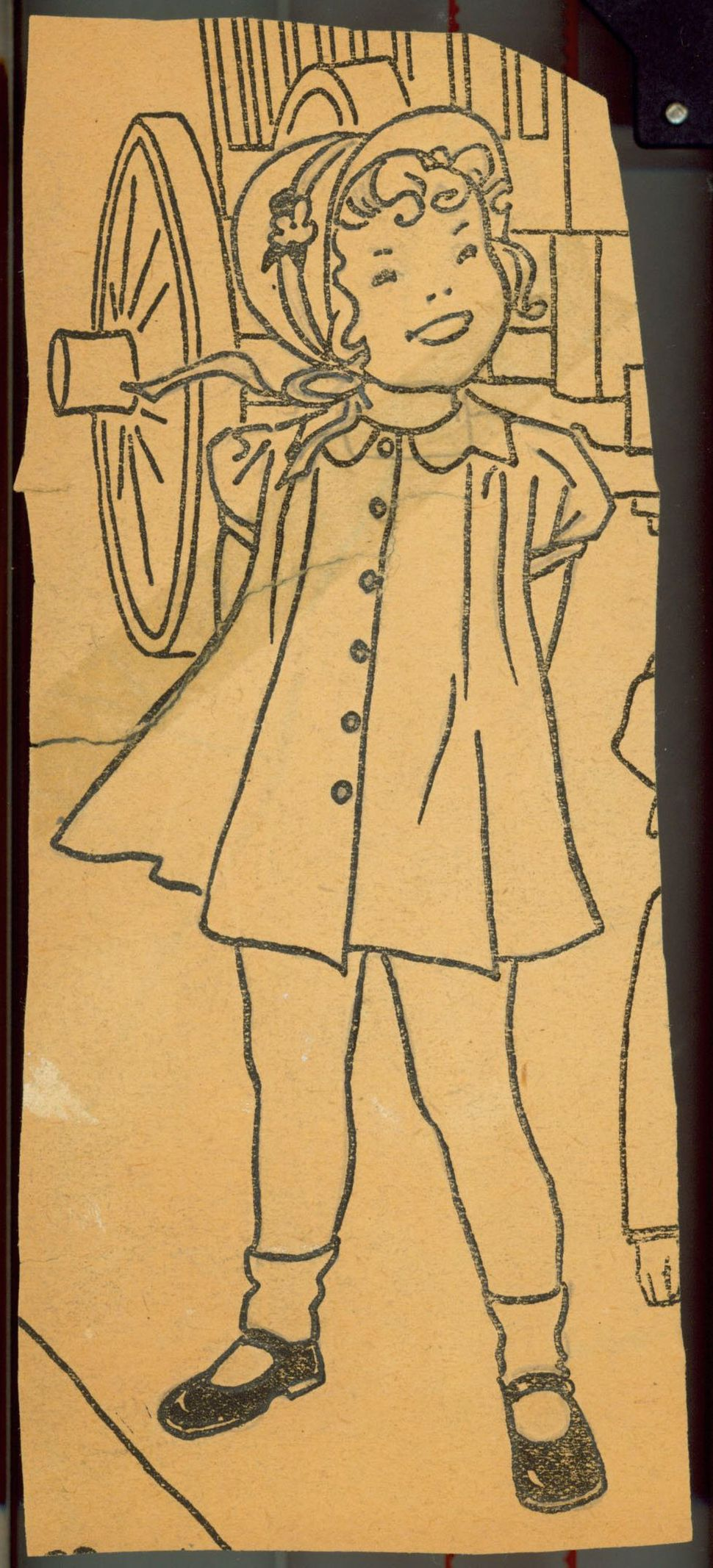 "Untitled coloring book clipping (""Girl in bonnet"")."