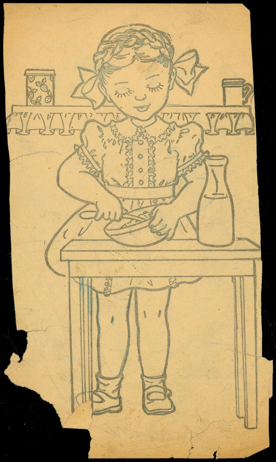 "Untitled coloring book clipping (""Little girl eating cereal"")."