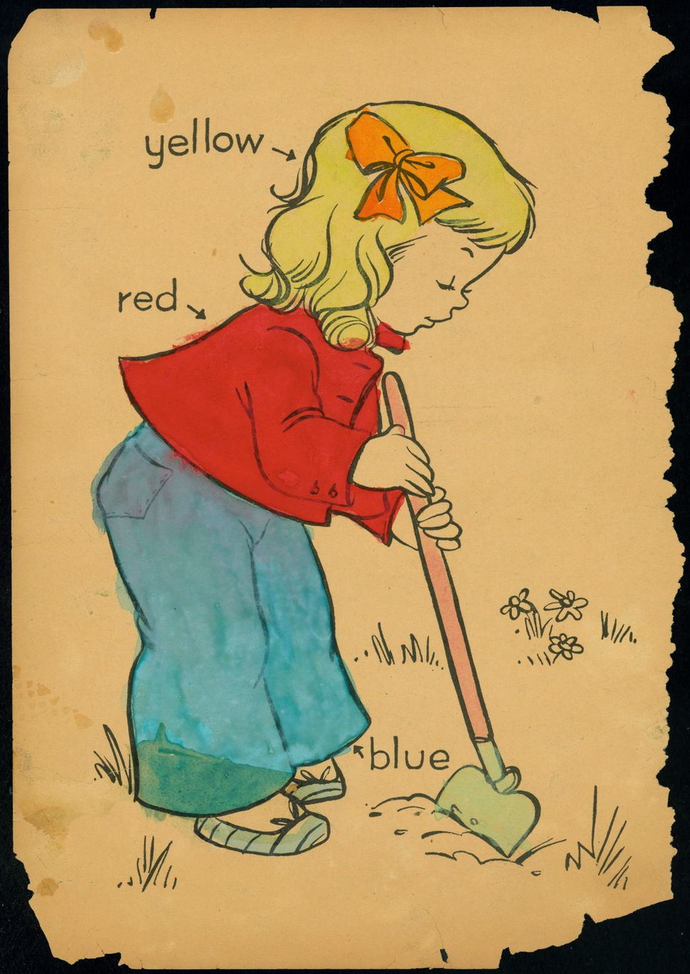 "Untitled coloring book clipping (""Little girl gardening"")."