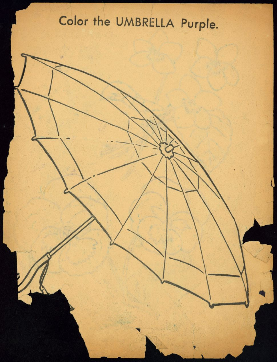 "Untitled coloring book clipping (""Umbrella"")."