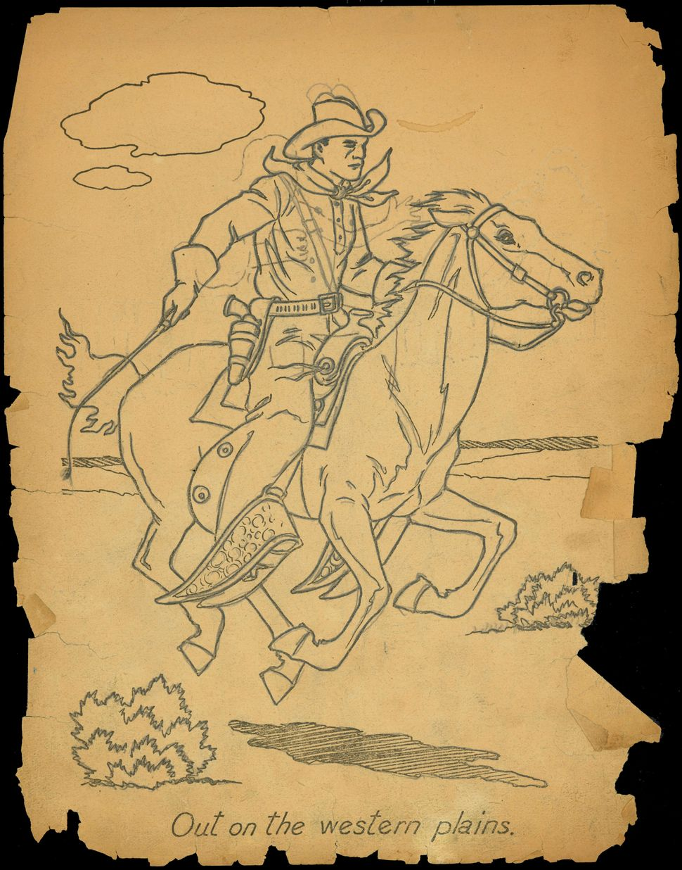 "Untitled coloring book clipping (""Out on the Western Plains"")."