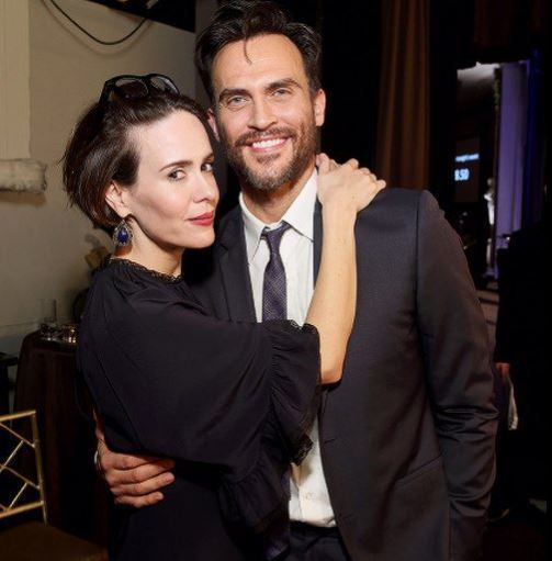 Sarah Paulson and Cheyenne Jackson at the 2017 LA Impact Awards benefiting Family Equality Council.