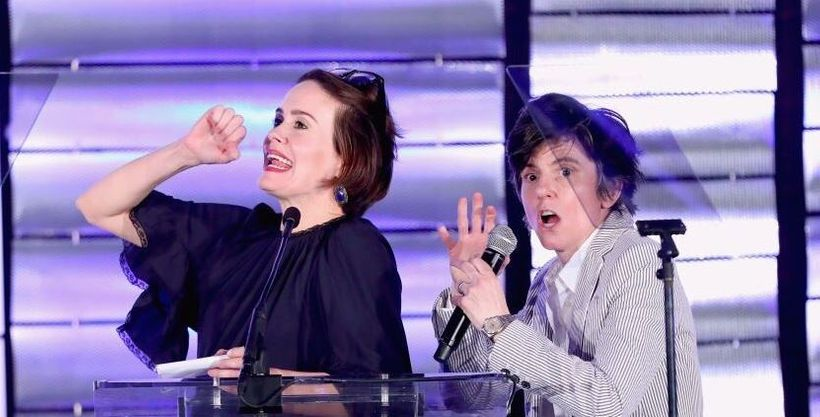 Sarah Paulson and Tig Notaro banter onstage at the 2017 LA Impact Awards benefiting Family Equality Council. Photo: LA Impact Awards