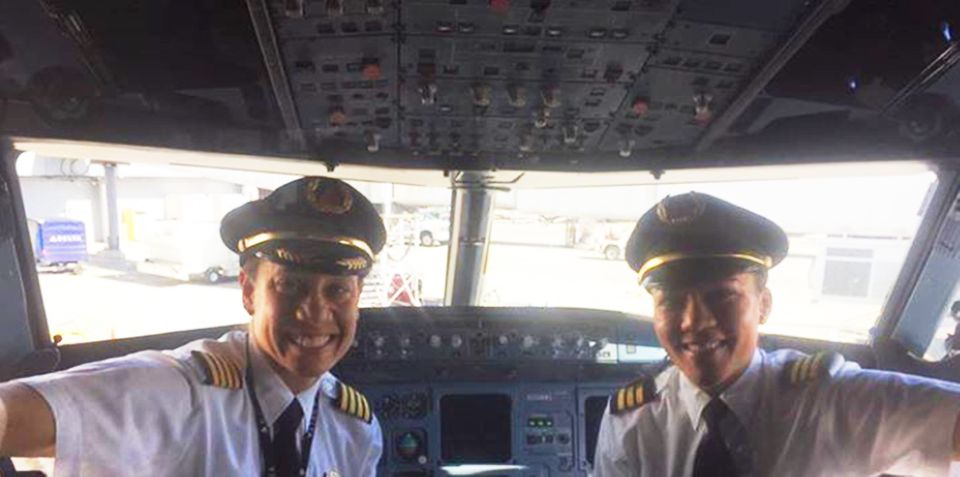 Dawn Cook and Stephanie Johnson pose for their history-making flight.
