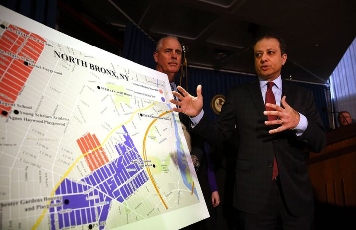 Preet Bhrarara alongside NYPD Chief of Detectives Robert Boyce announcing giant gang takedown last April