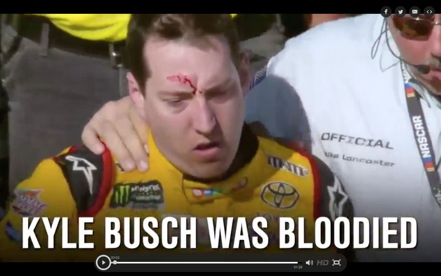 NASCAR driver Kyle Busch was left with a bloody gash on his forehead following a brawl at the Las Vegas Motor Speedway on Sun