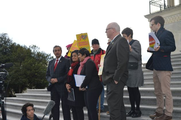 Activists and politicians gather on the steps of the Capitol in Washington D.C., on Friday for a vigil...