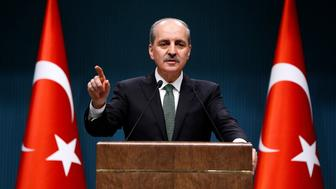 ANKARA, TURKEY - FEBRUARY 20: Turkish Deputy Prime Minister Numan Kurtulmus gives a speech during a press conference as the cabinet meeting continues in Ankara, Turkey on February 20, 2017. (Photo by Mehmet Ali Ozcan/Anadolu Agency/Getty Images)