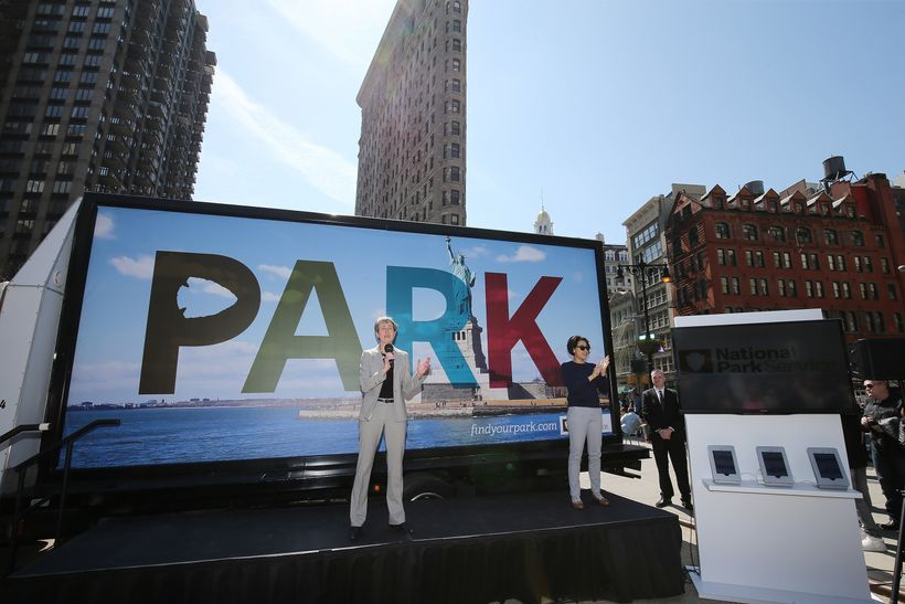 Interior Secretary Sally Jewell launched the park centennial in New York City with a portable billboard. The National Park Se