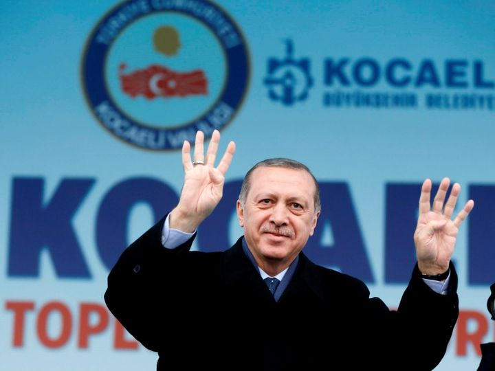 Turkish President Recep Tayyip Erdogan greets a crowd in Kocaeli, Turkey, on March 12, 2017.