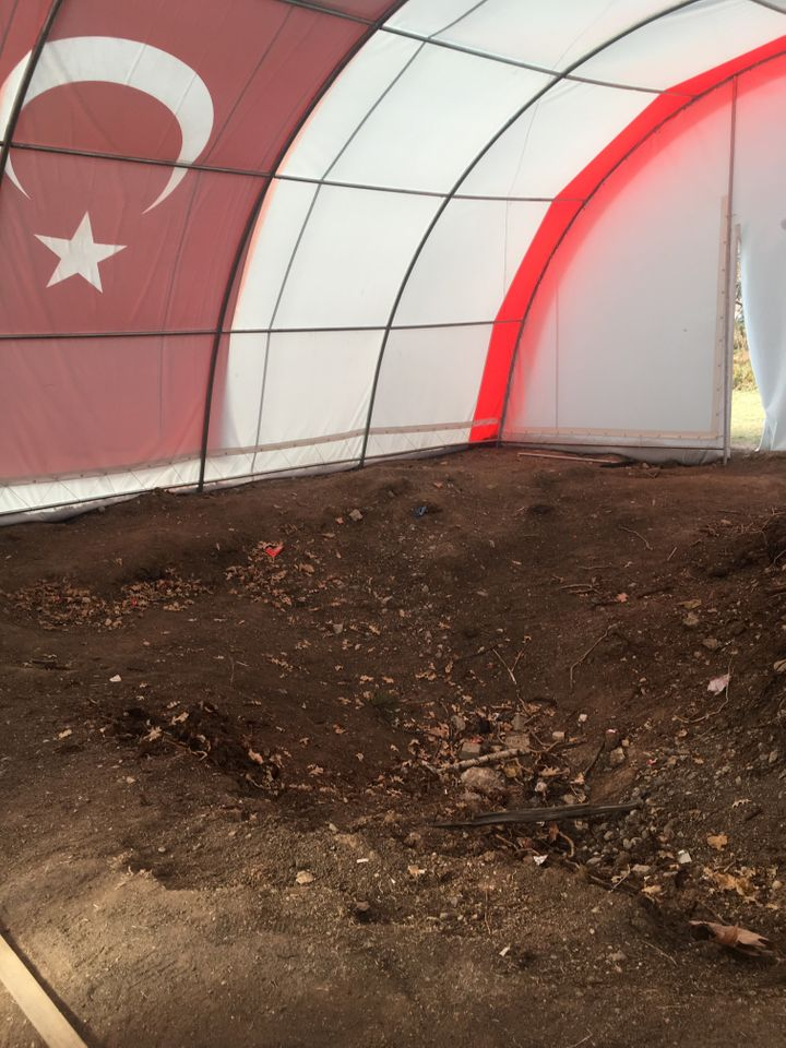 A hole in the ground in front of Turkey's Parliament building that was created during the July 2016 coup attempt.