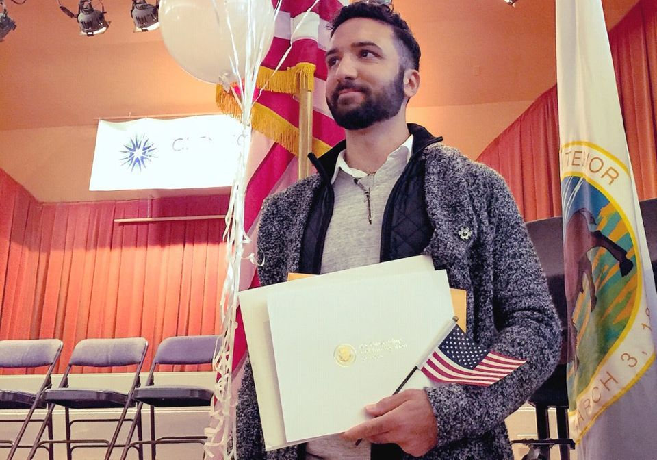 Mouhanad after receiving his U.S. citizenship in a ceremony at the historic Glen Echo Park in Maryland...