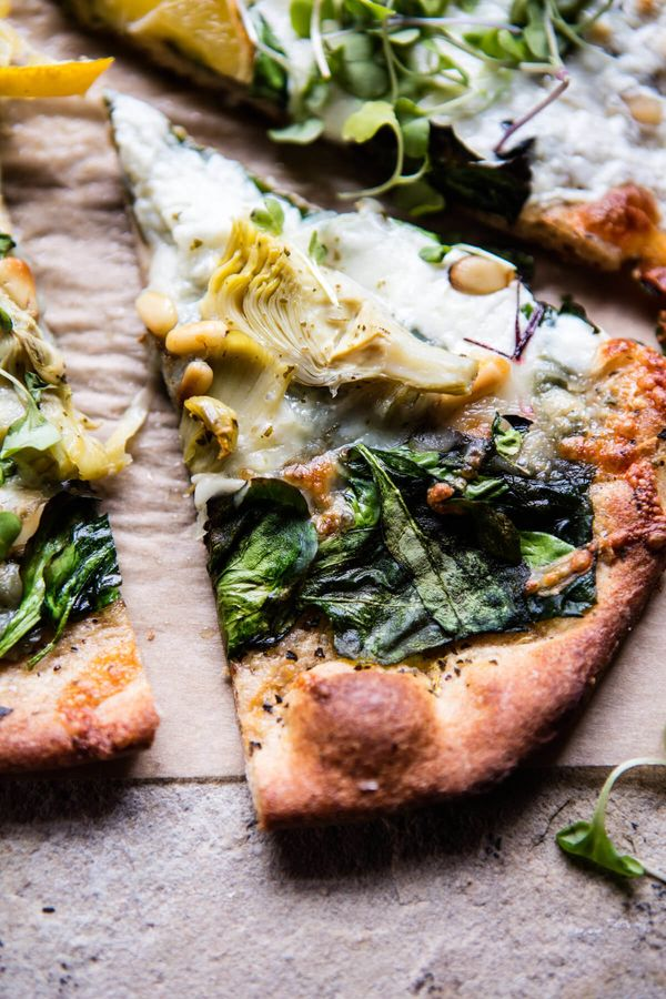 """<strong>Get the <a href=""""https://www.halfbakedharvest.com/whole-wheat-spinach-artichoke-pizza/"""" target=""""_blank"""">Whole Wheat S"""
