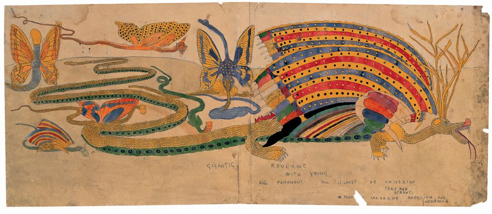 "Henry Darger, ""Gigantic Roverine with Young All Poisonous All Islands Of Universan Seas and Oceans. Also in Calverina Angelin"