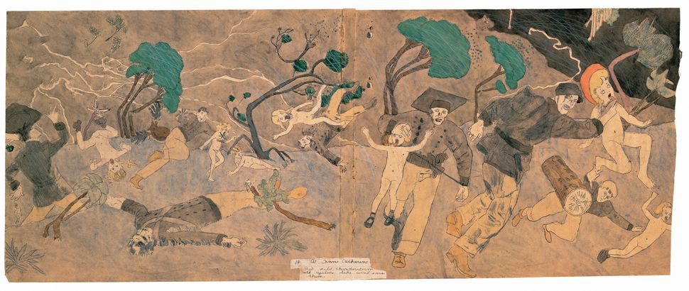 "Henry Darger, ""18 At Norma Catherine. But wild thunderstorm with cyclone like wind saves them,"" mid–20th century. Water"