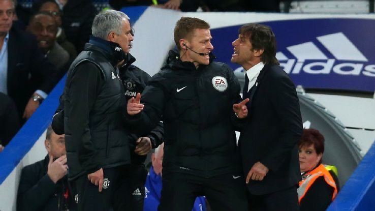 BBC Sport Jose Mourinho and Antonio Conte argue on the touchline following Ander Herrera's sending off late in the first half