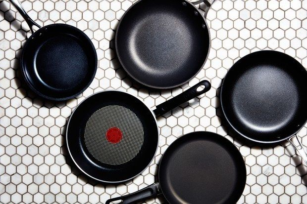 "Clockwise from top left: Kyocera Ceramic Coated Nonstick 8"" Fry Pan; Calphalon 10"" Signature Nonstick Fry Pan; Scanpan Classi"