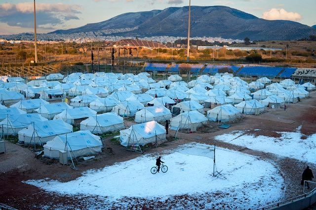 A tented refugee camp at the former Olympic site in Athens at Elliniko during freezing conditions in January 2017.
