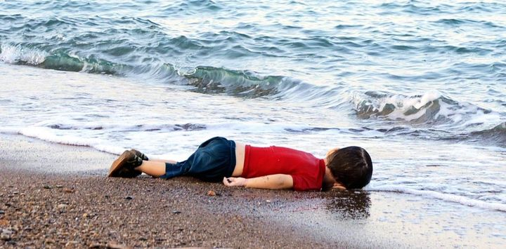 The body of Aylan Kurdi lies on the shores in Bodrum, southern Turkey, on September 2, 2015.