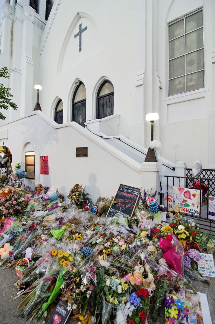 Days follows the shooting at Emanuel Church AME, tributes line the sidewalks leading up to the church in Charleston, South Ca