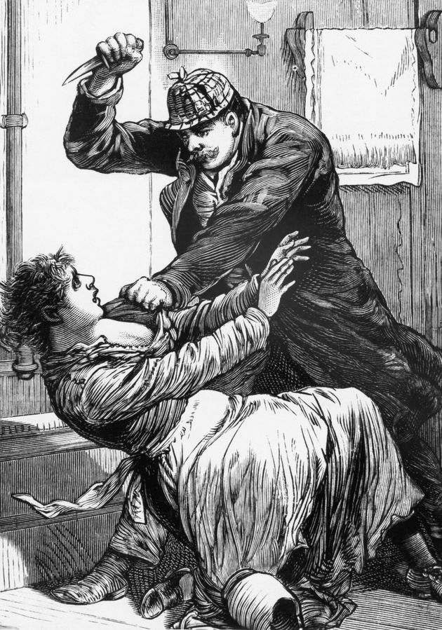 A drawing of Jack the Ripper slashing one of his