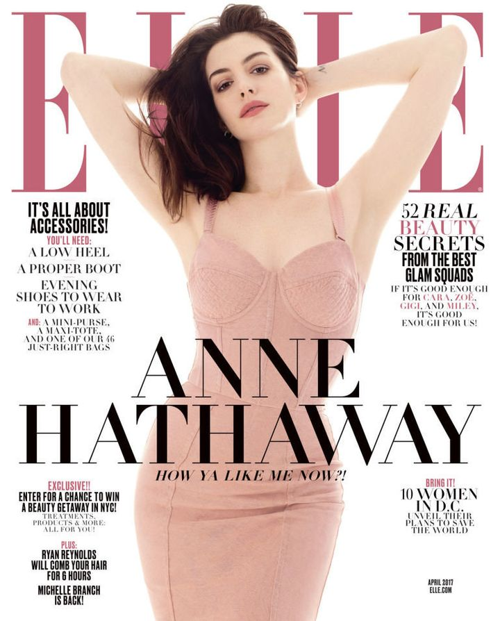 Hathaway on the April 2017 cover of Elle.