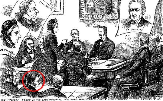 Dr Weston-Davies identifies the Ripper as Francis Spurzheim Craig - identified in this sketch as attending...