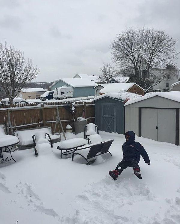 Backyard snow in Brunswick, Maryland, on March 14, 2017.