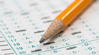 Macro of pencil on bubbled in answer sheet