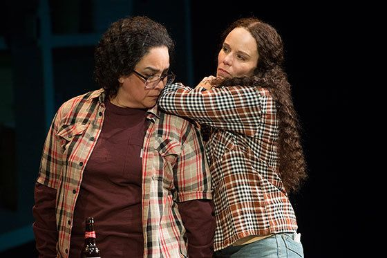 Catherine Castellanos as Connie Gonzalez with Sara Bruner as Norma McCorvey in a scene from<strong><em>Roe</em></strong>