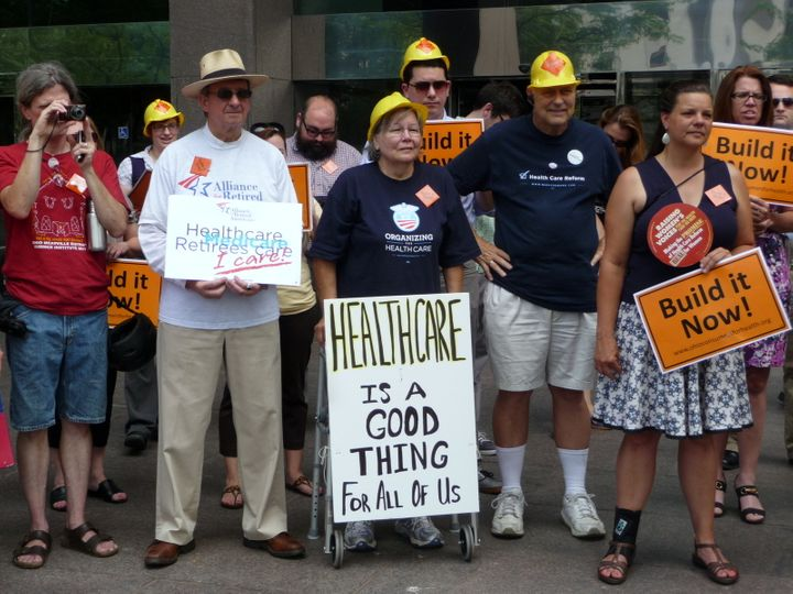 <p>Ohioans rally in the state capital of Columbus in 2012 in support of healthcare for everyone.</p>