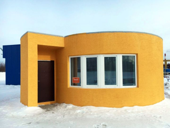A recently completed, 3-D printed home outside of Moscow.