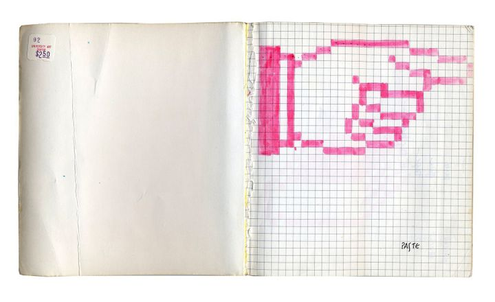 Graphic designer Susan Kare conceived numerous interface elements for the Apple Macintosh in the 1980s. Her personal notebook