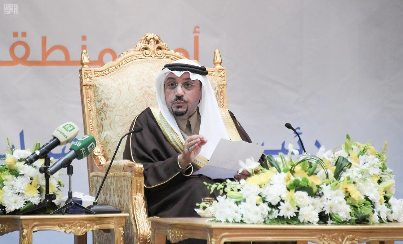 Prince Faisal bin Mishal bin Saud delivered opening remarks at the Qassim Girls Council on Saturday. Not pictured: Women