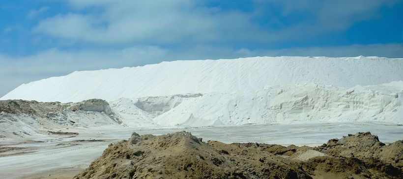 Mountains of salt at Guerrero Negro Salt Mine, Baja, Mexico