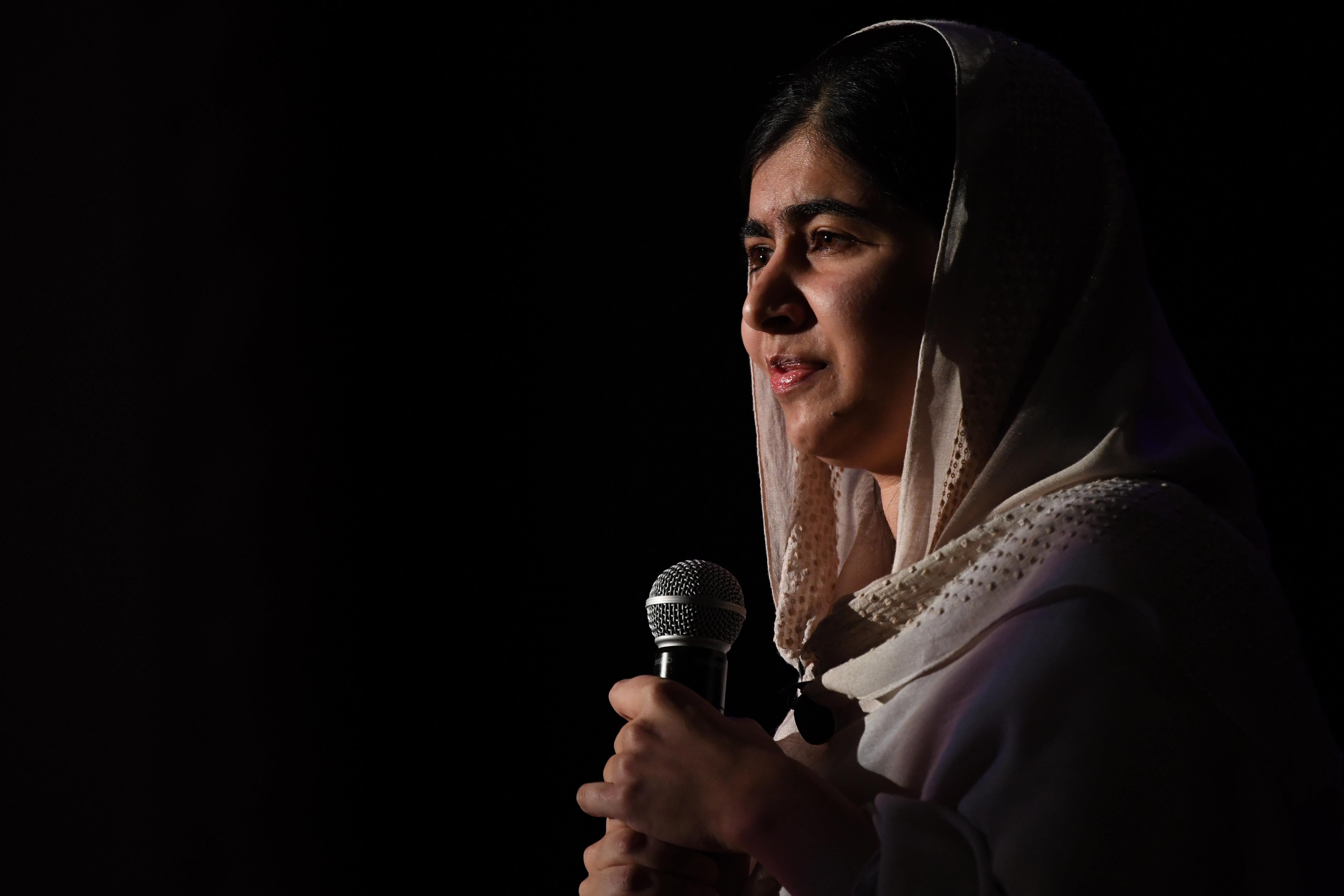 Nobel Peace Prize winner Malala Yousafzai speaks at Denver South High School Friday, October 21, 2016.
