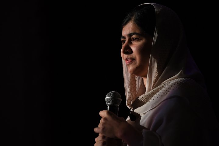 Nobel Peace Prize winner Malala Yousafzai speaks at Denver South High School Friday, October 21, 2016.