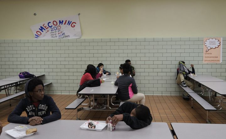 Students in Pennsylvania eat at their high school cafeteria. Over the course of a week, 33 percent of homeless teenagers said