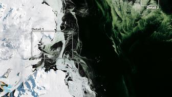 On March 5 2017 NASAs Operational Land Imager captured this view of water sea ice and phytoplankton above Antarcticas Granite Harbor near the Ross Sea This first image shows a wide view of the area