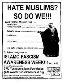 An actual flyer that was posted on multiple campuses across the US, including, as this one is, at George Washington Universit