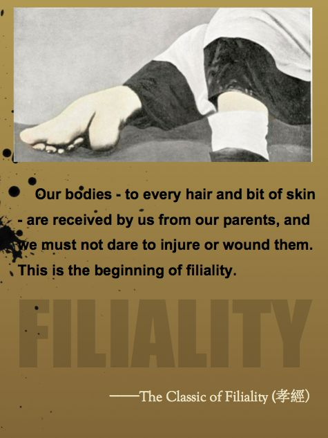<strong>The Ruist virtue of Filiality condemns foot-binding.</strong>
