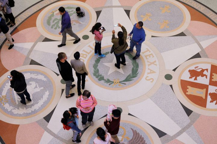 Visitors stand in the rotunda of the Texas State Capitol as the state senate debates the #SB6 bathroom bill in Austin, Texas,