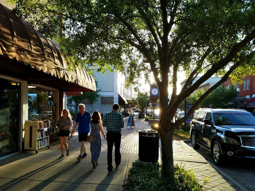 Compact development provides a great walking environment in Sanford, Florida