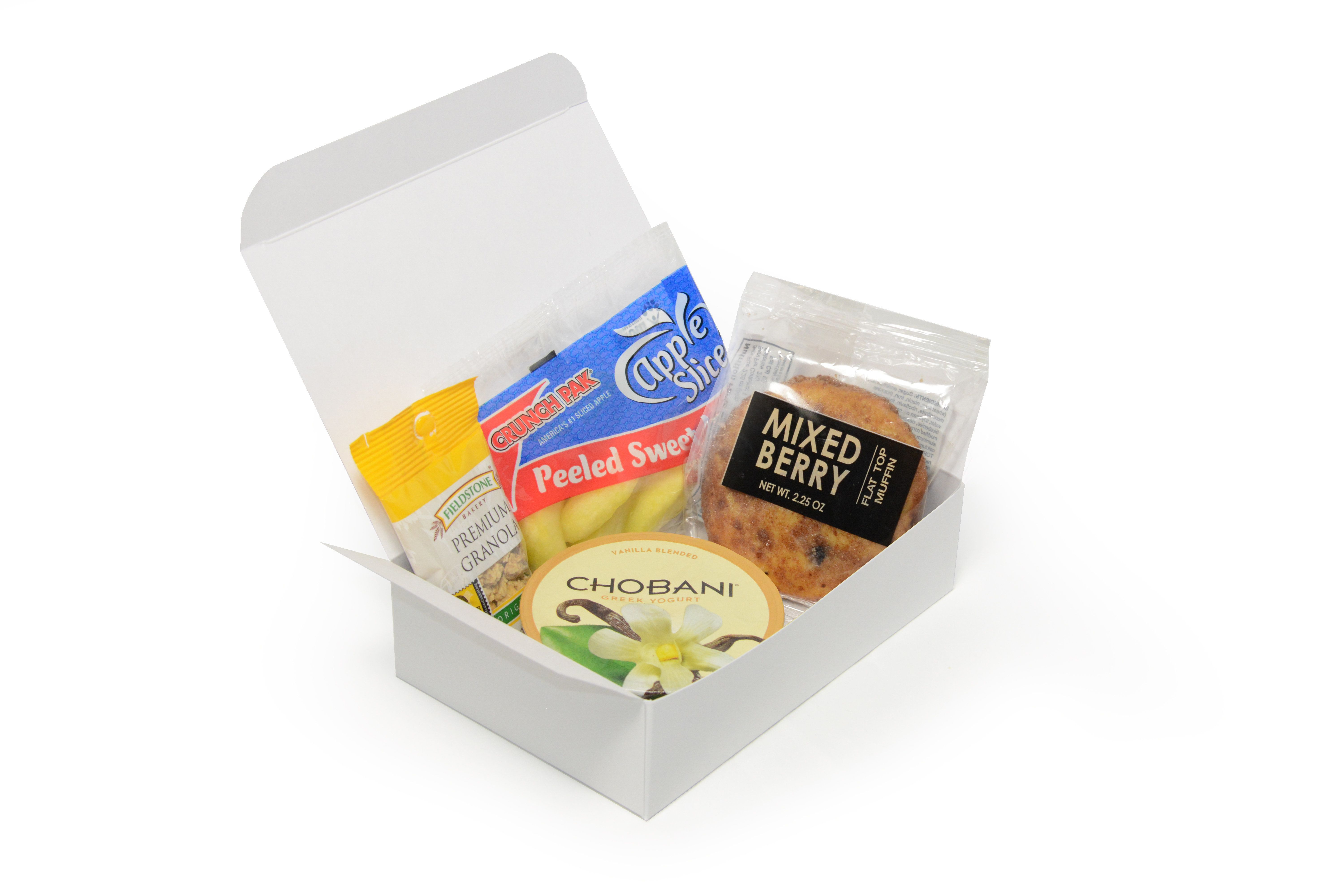 A continental breakfast box could include Chobani yogurt and something to do for 20 minutes.