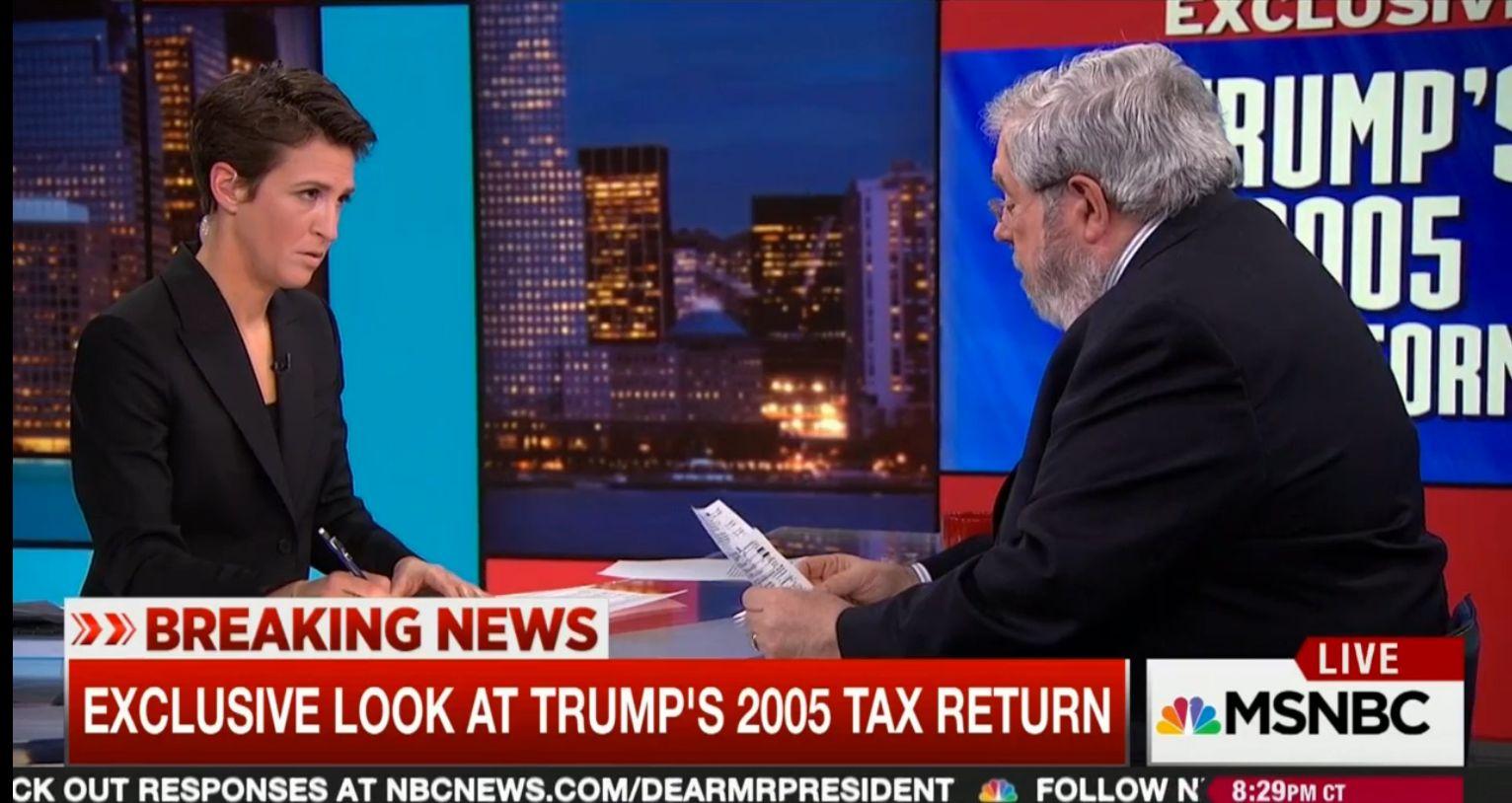 Journalist David Cay Johnston discussing Trumps 2005 tax return on The Rachel Maddow Show