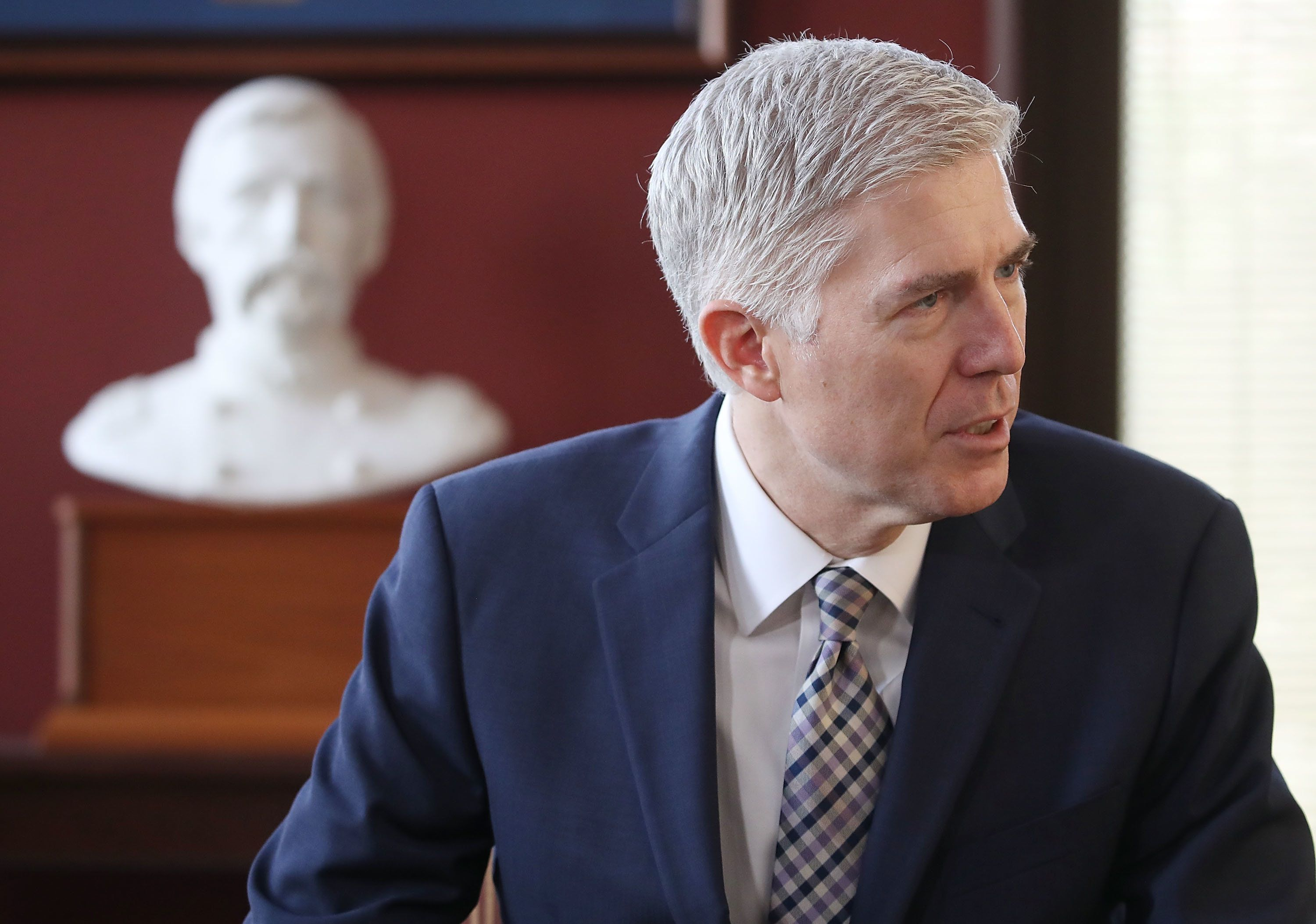 WASHINGTON, DC - MARCH 01:  Supreme Court nominee Judge Neil Gorsuch meets with Sen. Angus King (I-ME) in his office on Capitol Hill March 1, 2017 in Washington, DC. President Donald Trump nominated Judge Gorsuch to the Supreme Court to fill the seat that was left vacant with the death of Associate Justice Antonin Scalia in February 2016.  (Photo by Mark Wilson/Getty Images)