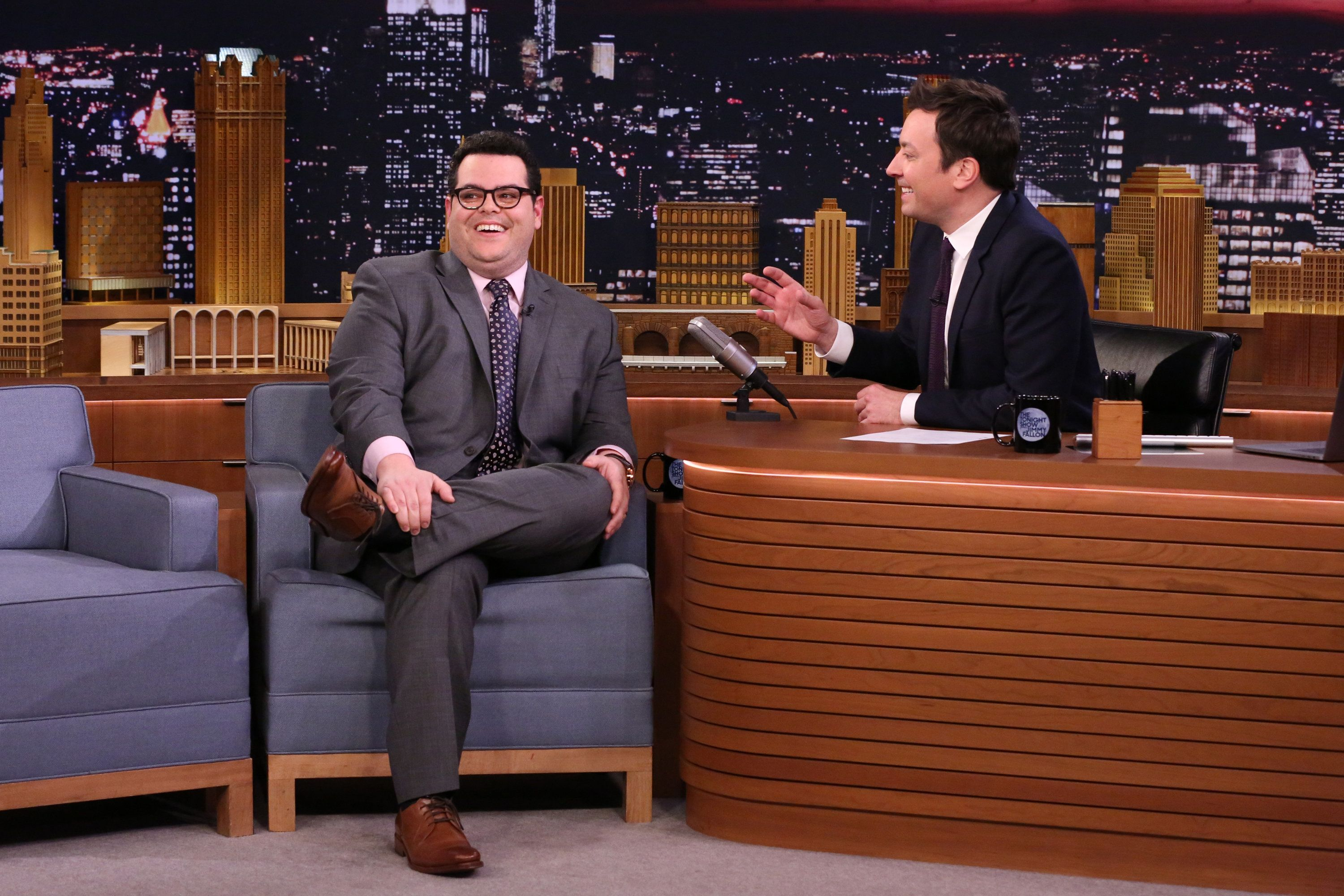 THE TONIGHT SHOW STARRING JIMMY FALLON -- Episode 639 -- Pictured: (l-r) Actor Josh Gad during an interview with host Jimmy Fallon on March 14, 2017 -- (Photo by: Andrew Lipovsky/NBC/NBCU Photo Bank via Getty Images)