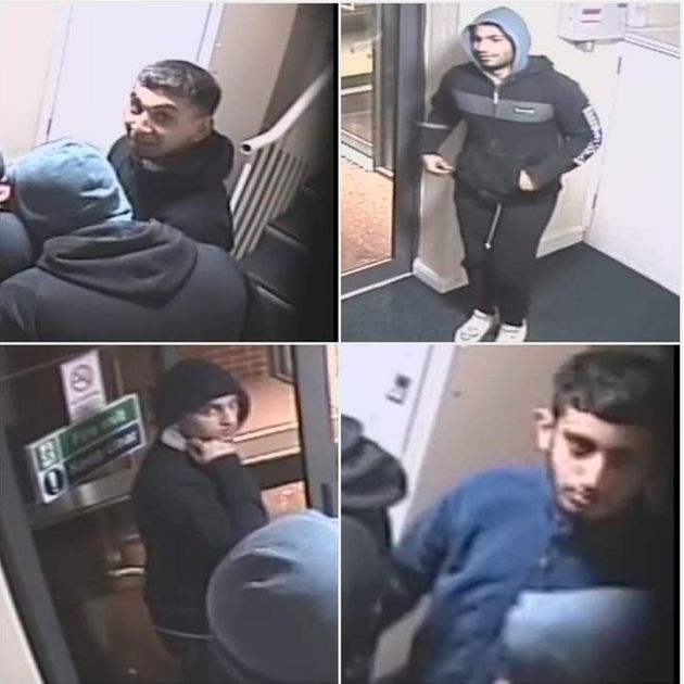 Police are searching for four men after a student was imprisoned and assaulted in